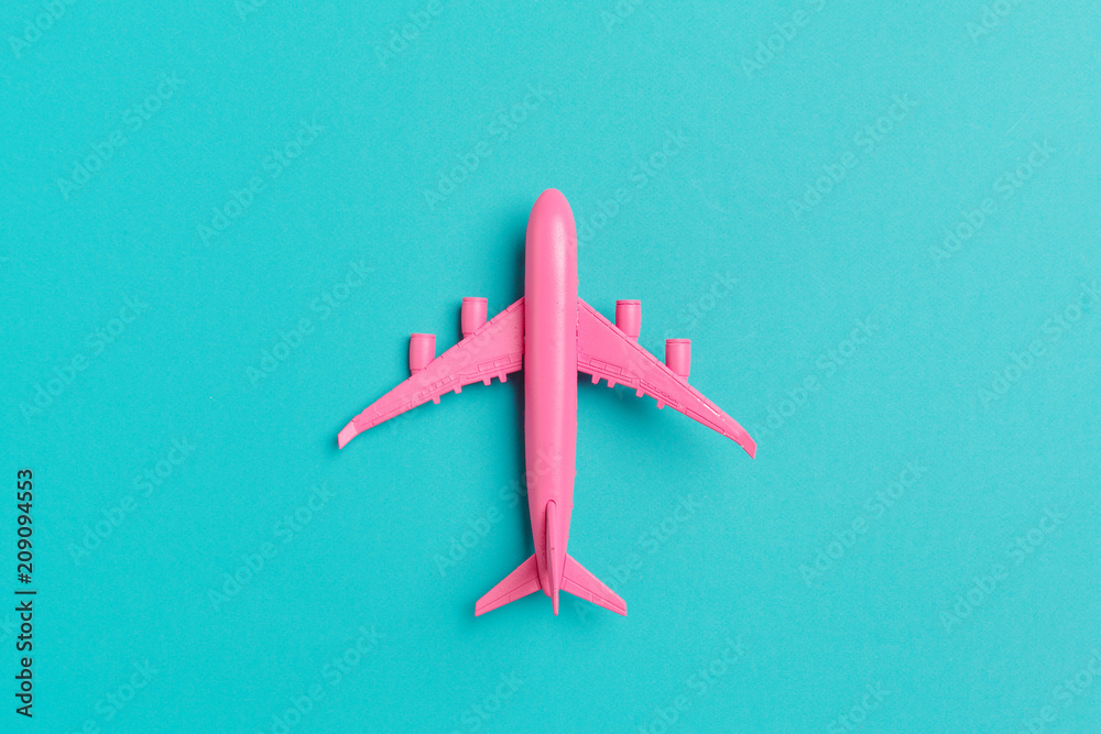 Fototapety, obrazy: Model plane,airplane on pastel color background.