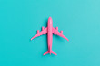 canvas print picture - Model plane,airplane on pastel color background.