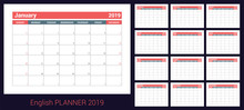 2019 Calendar. English Planner. Red And Gray Color Vector Template. Week Starts On Sunday. Business Planning. New Year Calender. Clean Minimal Table. Simple Design