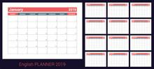 2019 Calendar. English Planner...