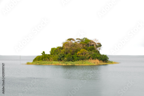 Tuinposter Eiland small island on white background -