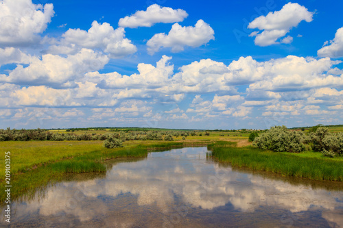 Foto op Plexiglas Rivier Summer landscape with small river and blue cloudy sky
