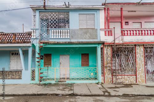 Colorful houses in Sancti Spiritus, Cuba Canvas Print