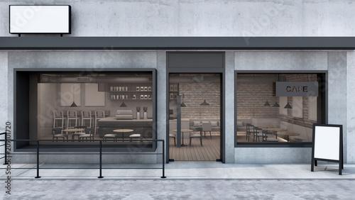 Front View Cafe Shop Amp Restaurant Design Modern Loft Wall