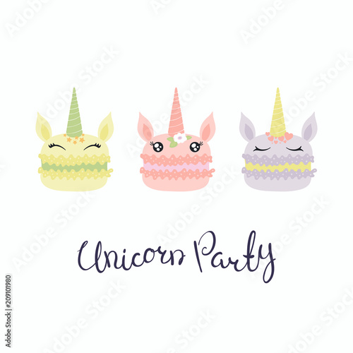 Canvas Prints Illustrations Set of cute funny macarons with unicorn faces, horns, ears, flowers, lettering quote Unicorn party. Isolated objects on white background. Vector illustration. Flat style design. Concept children print