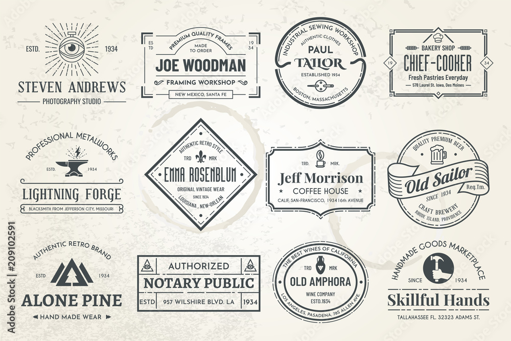 Fototapety, obrazy: Set of vintage template logos. Perfectly to your company logos, advertisement, promotion material, sticker and business cards.