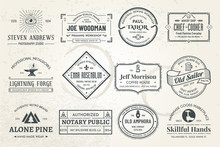 Set Of Vintage Template Logos. Perfectly To Your Company Logos, Advertisement, Promotion Material, Sticker And Business Cards.