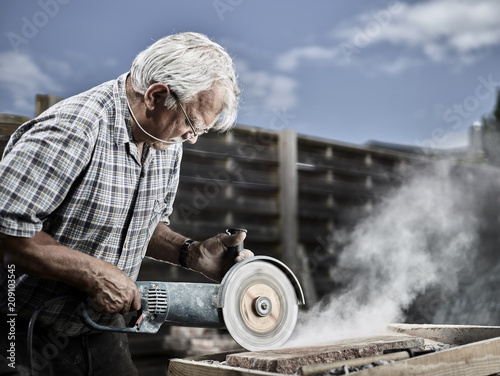 Stonemason working on stone