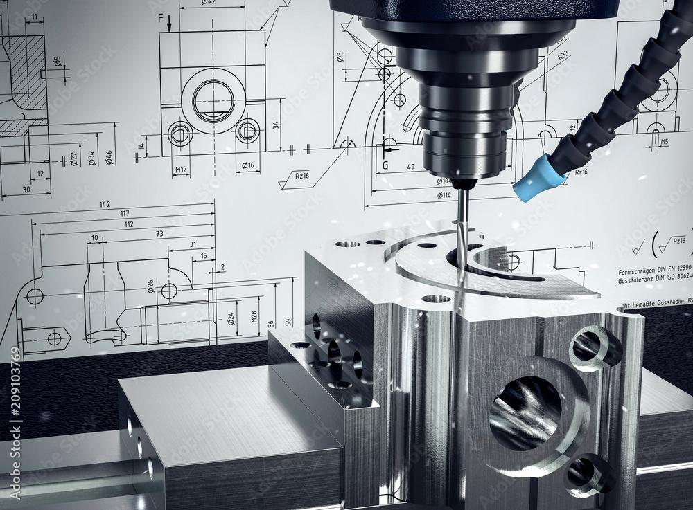 Fototapeta 3D-Illustration CNC-Fräse Metalverarbeitung