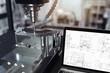 Leinwandbild Motiv 3D-Illustration CNC-Fräse mit Notebook