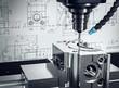 canvas print picture - 3D-Illustration CNC-Fräse Metalverarbeitung
