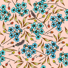 Floral pattern with beautiful flowers forget-me-not and leaves. Summer pattern with colorful plants. Seamless colorful pattern with hand drawn plants.