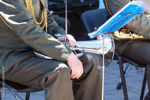 Military band musician with a wind instrument baritone Canvas Print