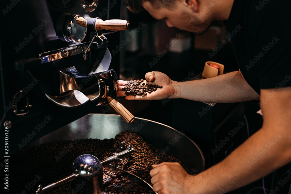 Fototapeta Man working at coffee production. Barista controling coffee grounds roasting process.