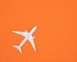 Leinwanddruck Bild - Model plane, Airplane on pastel color background, Flat lay design.