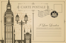 Retro Postcard With Big Ben In...