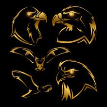 Golden Eagle, Hawk Vector Mascots Set