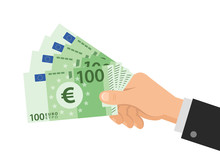 Hand Holds Money Euro 100 Bank...