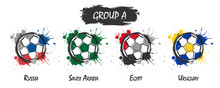 Set Of National Football Team Group A . Realistic Watercolor Art Paint With Stained Splash Color . Flat Design . Vector For International World Championship Tournament Cup 2018