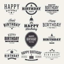 Happy Birthday Design With Labels Collection Themed Badge, Logo, Icon, Tag Design Collection. Birthday Label Set