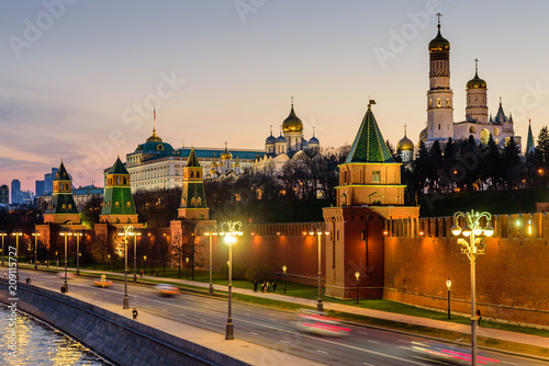 Printed kitchen splashbacks Delhi Sunset view of Moscow Kremlin and Moscow river. Architecture and landmarks of Moscow, Russia