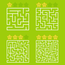 A Square Labyrinth With An Entrance And An Exit. A Set Of Four Options From Simple To Complex. With A Rating Of Cute Cartoon Stars. Vector Illustration Isolated On A Green Background.