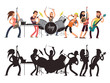Music performance with young musicians. Rock concert vector flat concept. Set of cartoon characters and musician silhouettes
