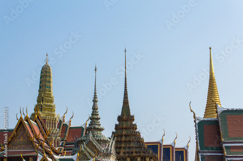 Rooftop of temple building  - Wat Phra Kaew in Bangkok