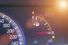 Closed Up Of Empty Petrol Gauge, Energy Concept.