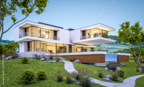 Fotografía  3d rendering of modern house by the river at evening