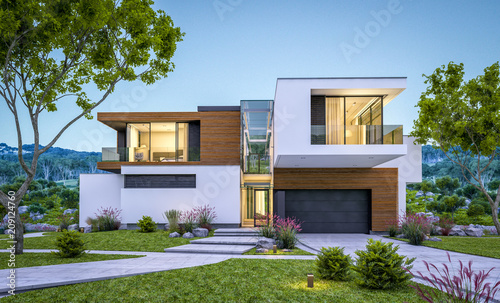 Fotografiet  3d rendering of modern house by the river at evening