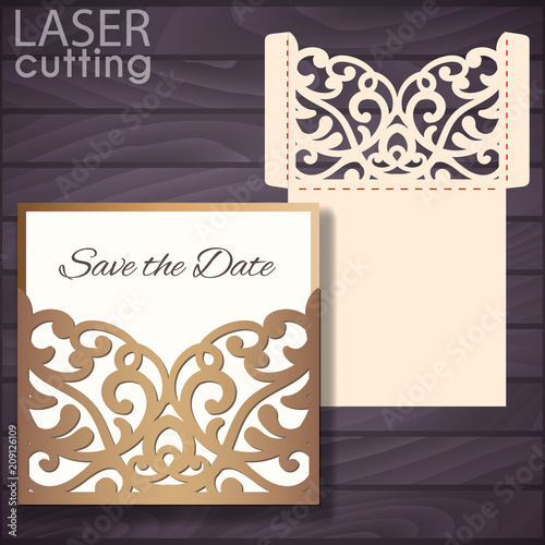 Stampa su Tela Laser and die cut pocket envelope template with lace pattern