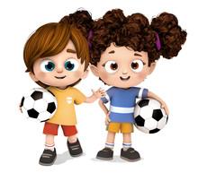 Niño Y Niña Futbolistas Depo...