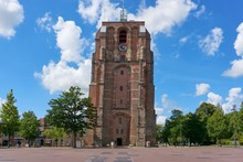 View On De Oldehove. An Unfinished And Leaning Church Tower In The Medieval Centre Of The Dutch City Of Leeuwarden.