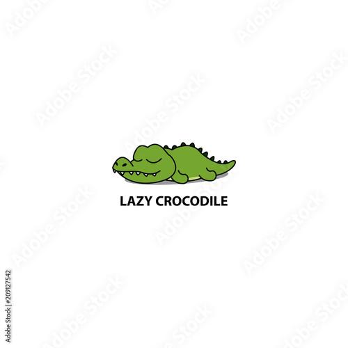 Stampa su Tela Lazy crocodile sleeping icon, logo design, vector illustration