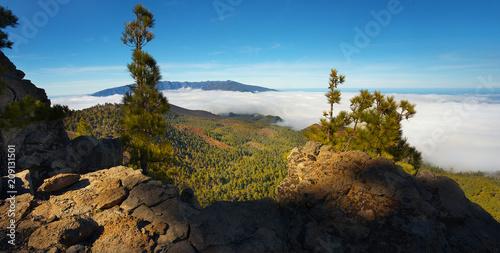 Staande foto Zwart Landscape in the Island of La Palma with a crater Caldera de Taburiente on backgroud, Canary Islands, Spain