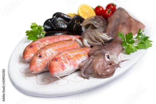 Fotobehang Assortiment Pesci, crostacei e molluschi freschi