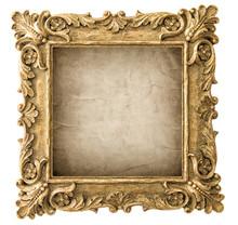 Antique Golden Picture Frame Grungy Canvas