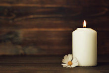 Condolence Card With White Burning Candle And Flower