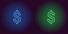 Neon Icon Of Blue And Green Dollar
