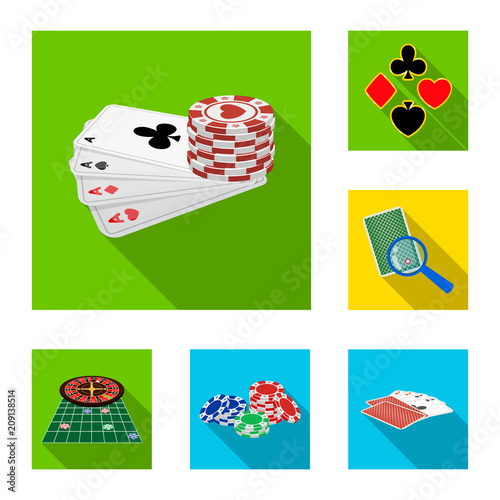 Платно  Casino and equipment flat icons in set collection for design