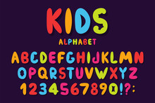 Children's Font In Cartoon Style. Colorful Bubble Alphabet With Numbers For Toys And Games. Playful Hand Drawn Kids Font