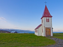 Lone Church Upon A Hilltop.  Iceland