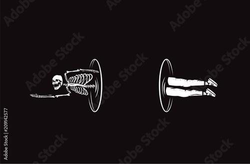 Photo Skull illustration. Teleporter of death.