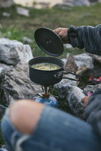 Noodles Cooking On A Gas Cooker In Camping Pot