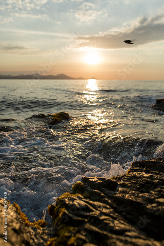 Fotobehang Water close up Shorebreak on a sandy beach at sunset