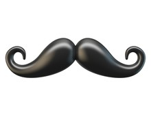 Black Mustache 3D Rendering Illustration On White Background