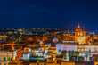 Aerial view of Victoria (Rabat) from the Il-Kastell citadel during night, Gozo, Malta