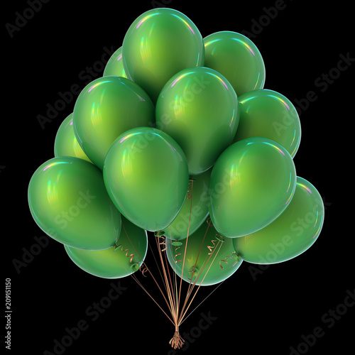 Holiday Balloons Bunch Green Color Anniversary Birthday Party Decoration Ilration Isolated On Black