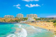 Golden Bay Beach On Malta